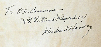 manuscript dedication from Herbert Hoover to O.D. Cameron