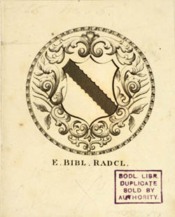 Radcliffe Science Library bookplate