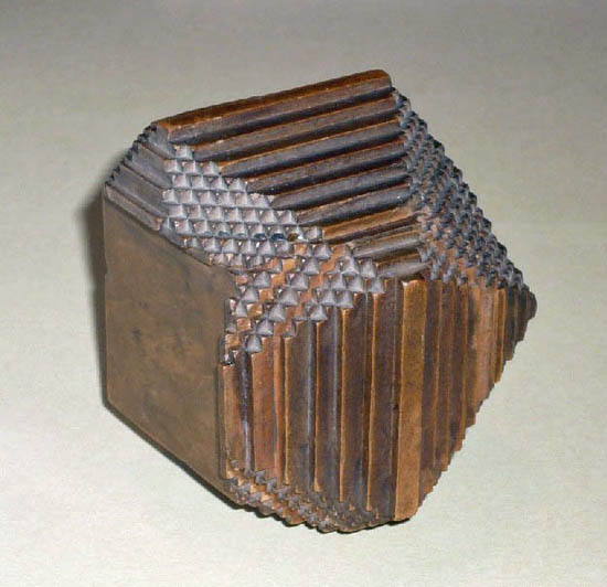 wooden crystal model illustrating Haüy's laws of decrement